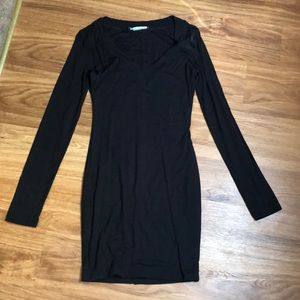 Naked wardrobe Black V-neck long sleeve mini dress